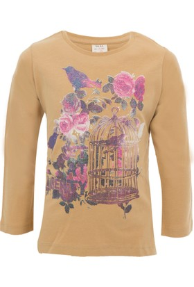 Soobe Pop Girls Kafesli Kuş Uzun Kol T-Shirt Camel (3-7 Yaş)