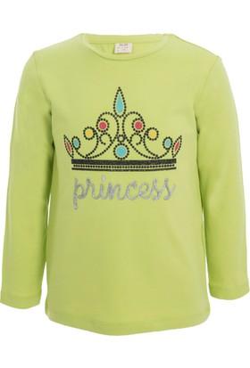 Soobe Pop Girls Taç Baskılı Uzun Kol T-Shirt Elma Yeşili (3-7 Yaş)