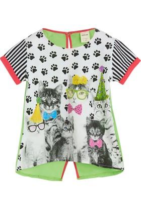 Soobe Cat Power Kısa Kol Fiyonklu T-Shirt Beyaz (1-5 Yaş)