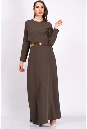 İroni Ön Patlı Kemerli Haki Uzun Elbise