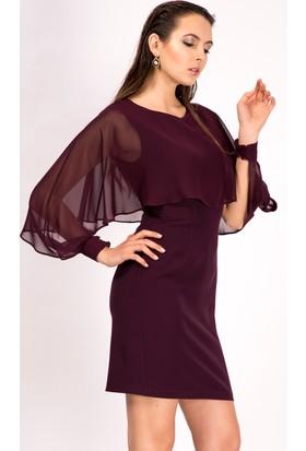 İroni Üstü Şifon Detaylı Yarasa Kol Mürdüm Elbise