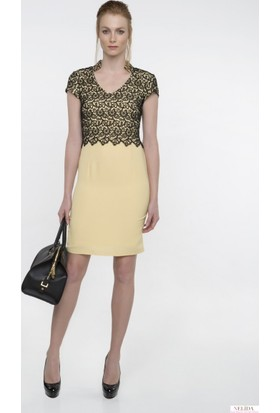 Nelida Üst Kısmı Güpür Tasarımlı Elbise