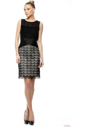 Nelida Nelida Koleksiyonu Dantel Ve Güpürlü Eşsiz Tasarım Siyah Elbise