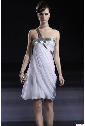 Nelida Gümüş Deri Detaylı Elbise