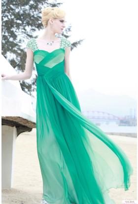 Nelida Omuzları İşlemeli Elbise