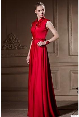 Nelida Yakası Farklı Tasarım Boncuk İşlemeli Elbise