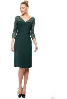 Nelida Dantel Truvakar Kollu Krep Yeşil Elbise