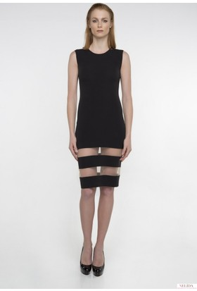 Nelida Eteği Transparan Şeritli Kalem Elbise