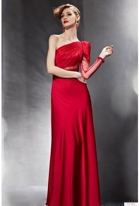 Nelida Uzun Tek Kollu İşlemeli Elbise