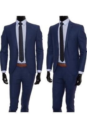 GiyimGiyim Altınyıldız %88 Yün Mavi Kareli Dar Kesim Erkek Takım Elbise