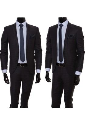 GiyimGiyim Altınyıldız %88 Yün Siyah - Mavi Kareli Dar Kesim Erkek Takım Elbise