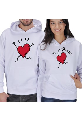 Tisho Kalp Baskılı Sevgili Kapüşonlu Sweatshirt