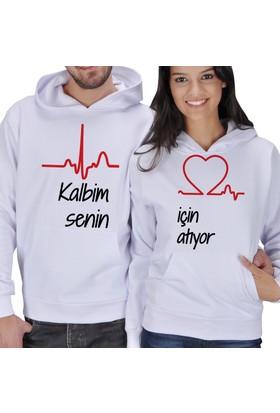Tisho Kalbim Senin İçin Atıyor Sevgili Kapüşonlu Sweatshirt