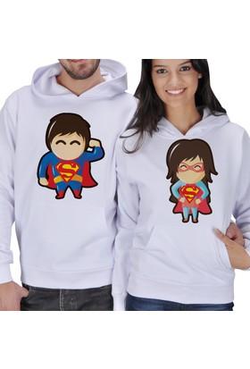 Tisho Süperman - Süperwoman Baskılı Sevgili Kapüşonlu Sweatshirt