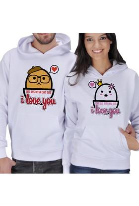 Tisho I Love You Yumurta Baskılı Sevgili Kapüşonlu Sweatshirt