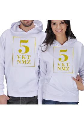 Tisho 5 Vakit Namaz Baskılı Sevgili Kapüşonlu Sweatshirt