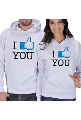 Tisho I Love You Baskılı Sevgili Kapüşonlu Sweatshirt