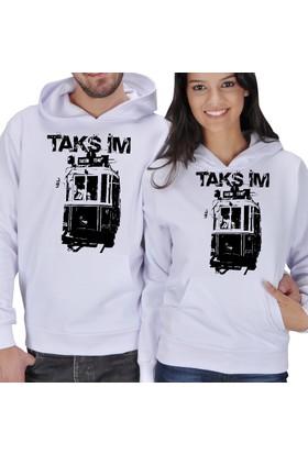 Tisho Taksim Baskılı Sevgili Kapüşonlu Sweatshirt