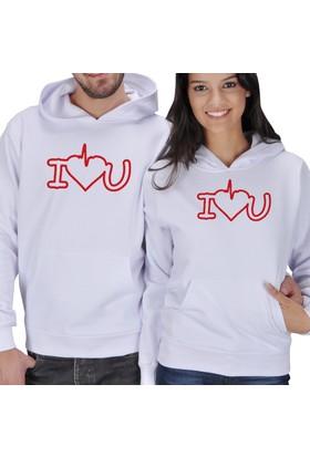 Tisho I Love U Baskılı Sevgili Kapüşonlu Sweatshirt