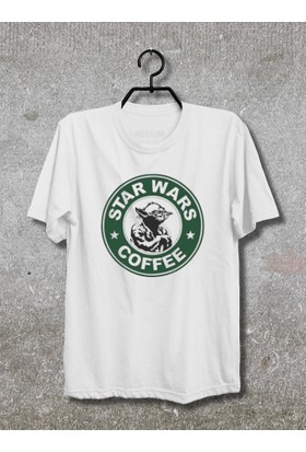 Star Wars Coffee Yoda T-Shirt (Tişört) No08 (Beyaz, XLarge)