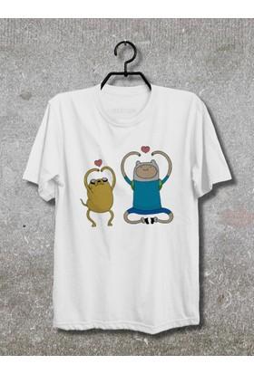 Adventure Time Finny and Jake T-Shirt (Tişört) (Beyaz, XLarge)