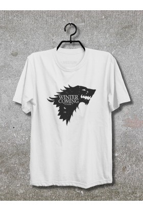 Game of Tthrones Winter is Coming Stark T-Shirt (Tişört) No01 (Beyaz, XLarge)