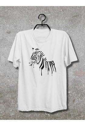 Zebra T-Shirt (Tişört) No01 (Beyaz, XLarge)