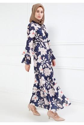 Çiçek Desenli Elbise - Lacivert - Refka