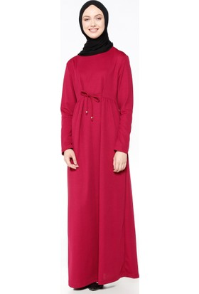 Beli Bağcıklı Elbise - Vişne - Bwest
