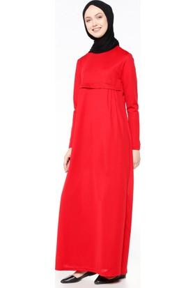 Pileli Elbise - Kırmızı - Bwest