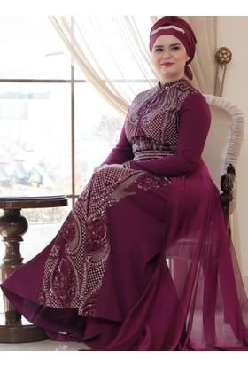 Aysira Abiye Elbise - Mürdüm - Saliha