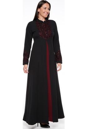 Payetli Abiye Elbise - Siyah Bordo - Sevilay giyim