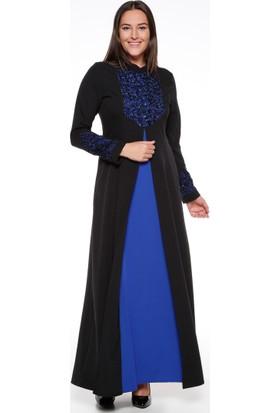 Payetli Abiye Elbise - Siyah Saks - Sevilay giyim