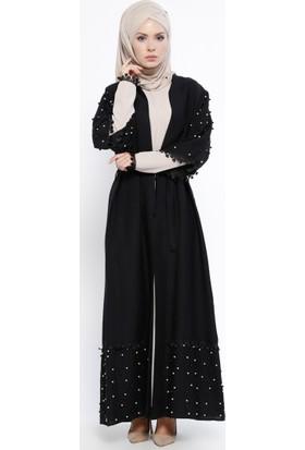 İncili Abaya & Elbise 2'li Takım - Siyah Vizon - Jamila