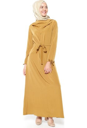 Dökümlü Yaka Elbise - Camel - Neways
