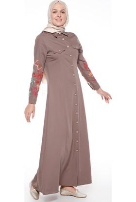 Nakış Detaylı Elbise - Vizon - Neways