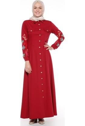 Nakış Detaylı Elbise - Bordo - Neways