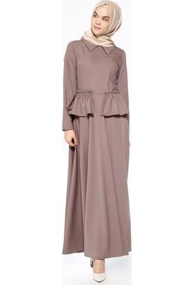 Volan Detaylı Elbise - Vizon - Neways