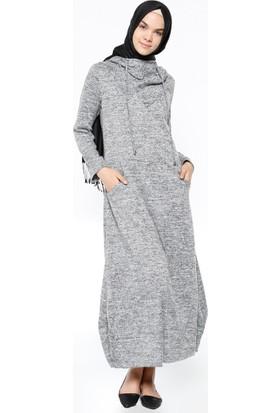 Kapüşonlu Elbise - Gri - Neways