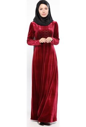 Drop Baskılı Kadife Elbise - Bordo - Ginezza