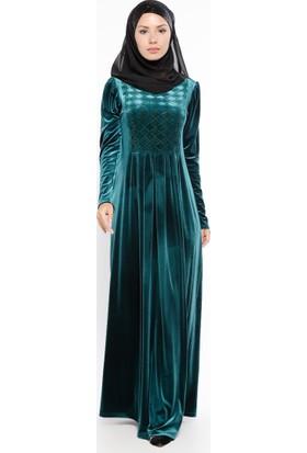 Drop Baskılı Kadife Elbise - Yeşil - Ginezza