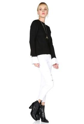 Miss Lusi 7376003 İnce Fitilli Kaşkorse Manşeti Garnili Uzun Kol Bluz
