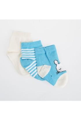 Soobe Erkek Bebek 3'lü Çorap Koyu Mavi