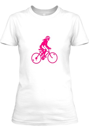 XukX Pembe Bisikletli Kız T-Shirt