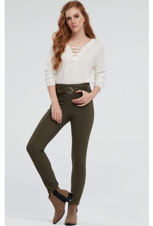 İroni Yüksek Bel Kemerli Haki Pantolon