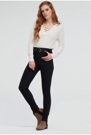 İroni Yüksek Bel Kemerli Siyah Pantolon