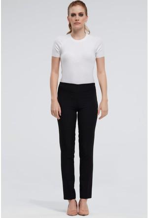 İroni Beli Lastikli Bilekte Siyah Pantolon