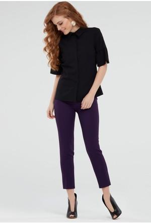 İroni İspanyol Kol Siyah Gömlek