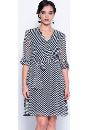 İroni İspanyol Kol Siyah Şifon Elbise