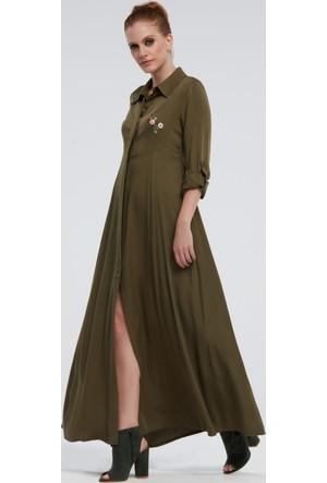 İroni Nakışlı Uzun Haki Gömlek Elbise